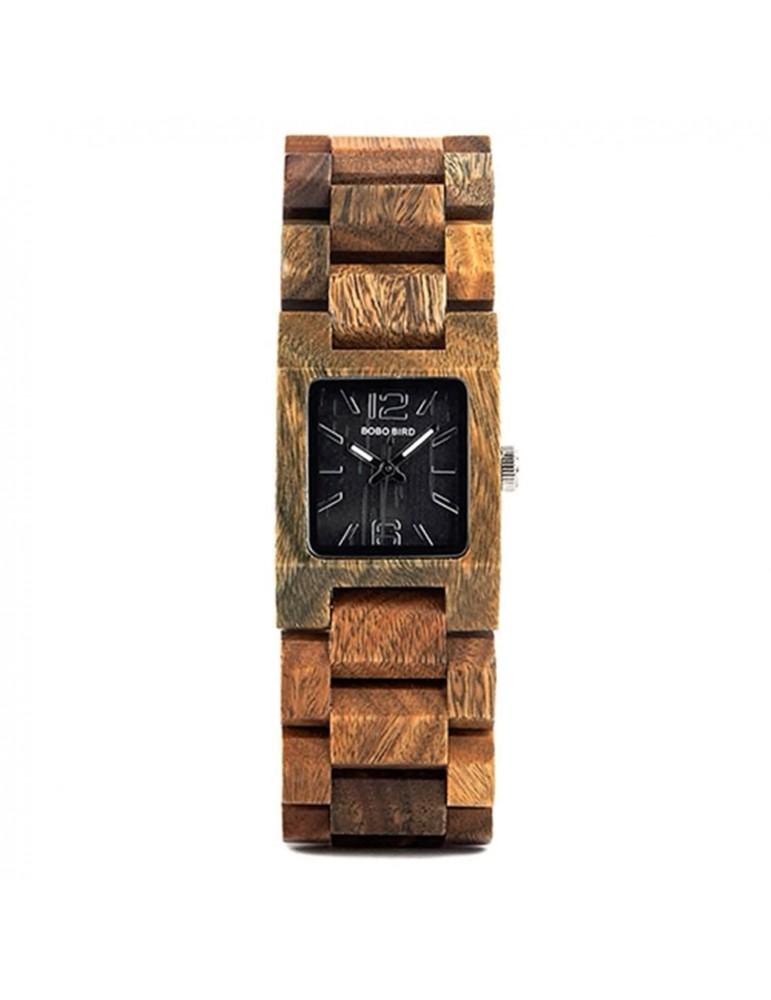 Montre en bois boisé pour femme cadran carré noir
