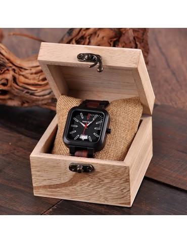 Boîte en bois cadeau pour montre carré noir