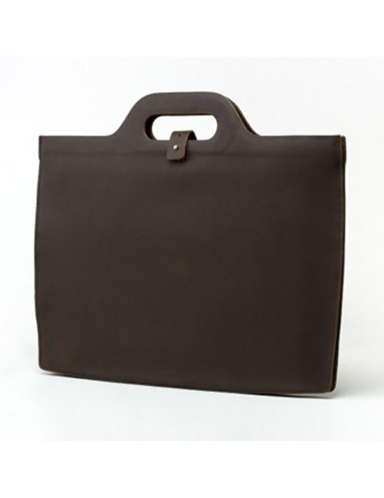 Sacoche ordinateur en cuir marron chocolat