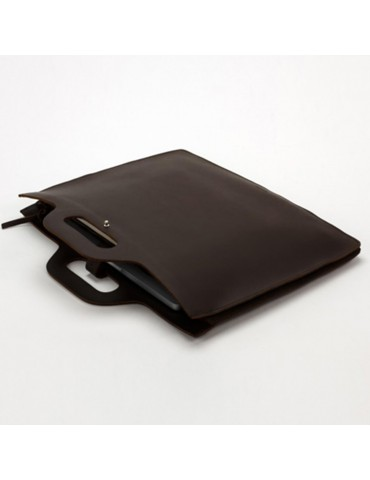 Sacoche ordinateur en cuir marron chocolat 1