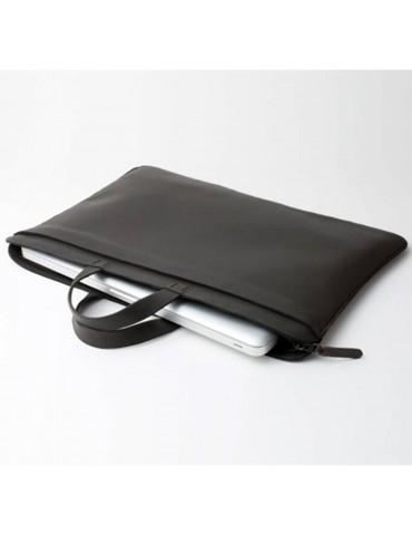 Sacoche en cuir pour ordinateurs et documents gris ardoise 2